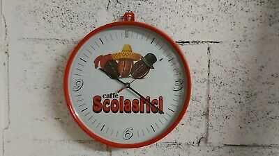 Horloge publicitaire Café Scholastic des années 80 No Bar Faema Cimbali Pavoni ...