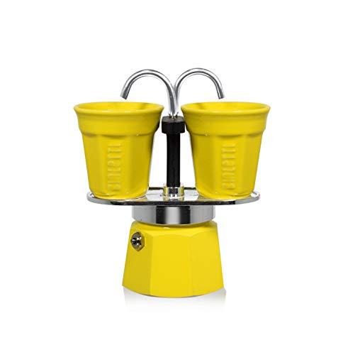 Machine à café Set Mini Express Bialetti 2 tasses + 2 tasses, aluminium, jaune, 22 x 8 x 21,5 cm, 3 unités