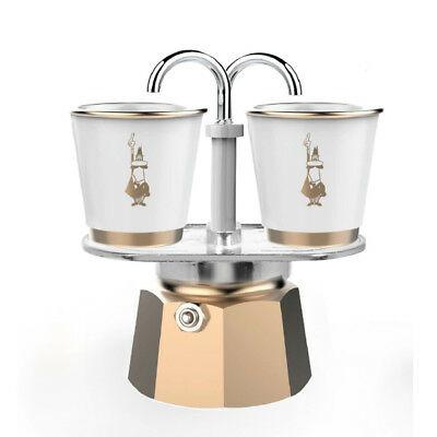 BIALETTI | Mini Express Gold 2 tasses + 2 tasses en porcelaine avec détails dorés