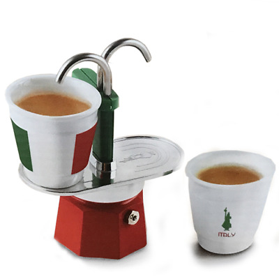 Bialetti Mini Express Italia Set 1 Cafetières 2 Tz + 2 Tasses