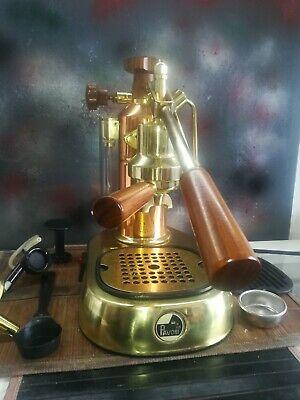 Machine à café espresso Italie La Pavoni Europiccola en cuivre doré avec accessoires