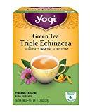 Thé au yogi, thé vert triple échinacée, 16 unités (paquet de 6), l'emballage peut varier