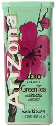 Thé vert sans sucre AriZona avec mélange de thé glacé au ginseng et au miel, 1,7 once, 2 QT Stix en boîte (paquet de 4)