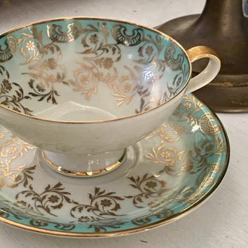 Ensemble de tasse à thé et soucoupe antique Gold Aqua Blue