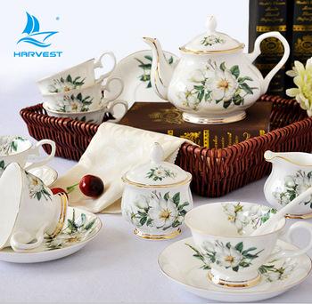 Meilleur prix Fine Bone Ceramic Porcelain Gift Set Flower Coffee Cups Kit Tea Cup Sets Customize