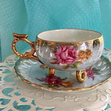 Tasse à Thé Antique Anese Reware Pieds Or Rose