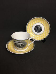 Rare Roy Kirkham Bone China Grande tasse à thé et 2 soucoupes Scènes rurales Noir Jaune