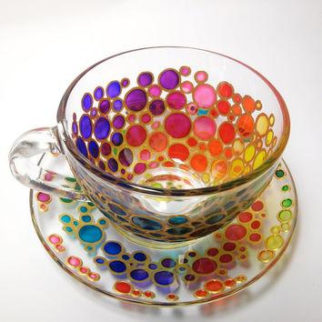 Tasse à thé et soucoupe Sun Catcher Set peint à la main