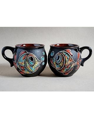 Tasses à thé à la main poisson tasse poterie ensemble de 2 café femme cadeau pour