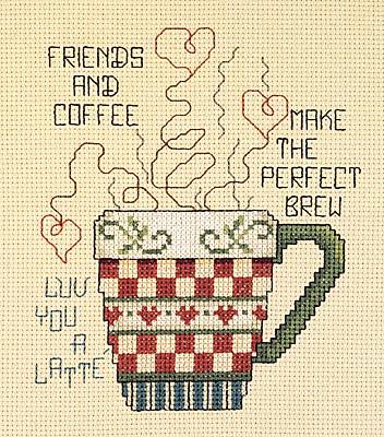 cliquez ici pour agrandir l'image de Friends and Coffee (kit de point de croix compté)