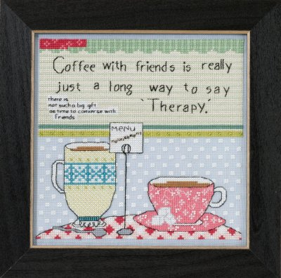 cliquez ici pour agrandir l'image de Coffee With Friends - Curly Girl Everyday Series (kit de point de croix compté)