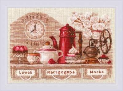 cliquez ici pour agrandir l'image de Coffee Time (kit de point de croix compté)