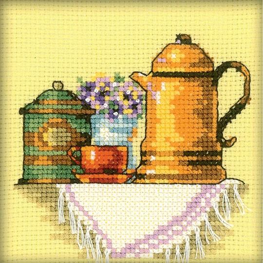 cliquez ici pour agrandir l'image de Cup Of Coffee In The Morning, A (kit de point de croix compté)
