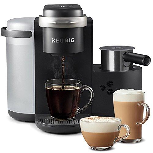 Cafetière Keurig K-Cafe, dosette K-Cup dosette, cafetière Latte et Cappuccino, livrée avec un mousseur à lait allant au lave-vaisselle, capacité de prise de café, compatible avec toutes les dosettes K-Cup, charbon de bois