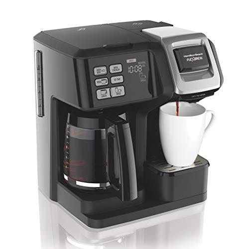 Cafetière FlexBrew de Hamilton Beach 49976, portion individuelle et pot plein, compatible avec les dosettes ou les dosettes K-Cup, programmable, noir (49976)