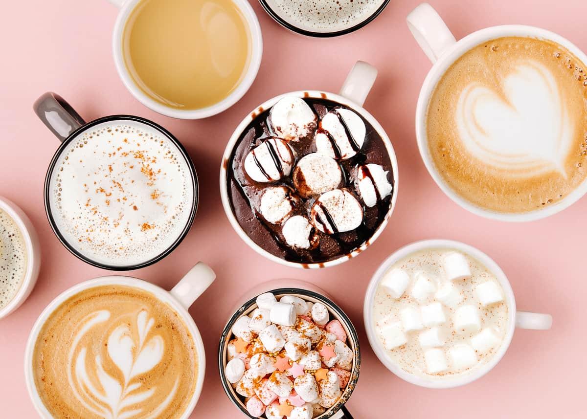 différents types de boissons au café