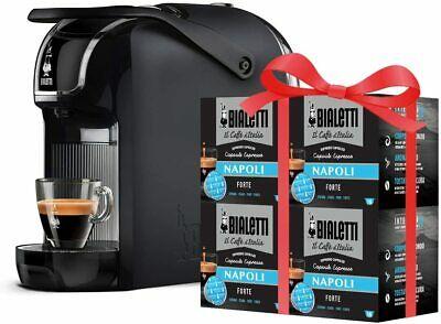 Machine à café expresso à pause automatique Bialetti noir + 64 capsules saveur Naples