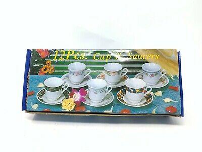 Ensemble de 6 tasses à café avec soucoupes en porcelaine décorée