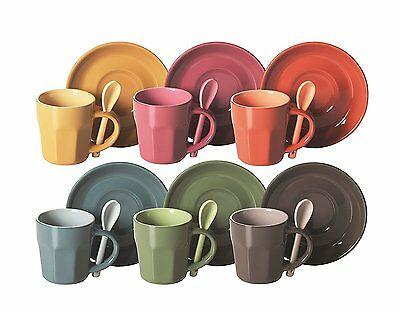 Set de 6 tasses à café avec cuillère et soucoupe colorées, idée cadeau EX-40762