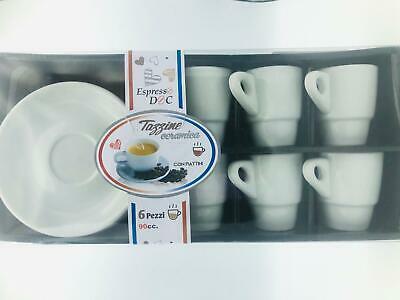 SET de 6 tasses à café avec soucoupes en céramique blanche chic pour dosettes de moka