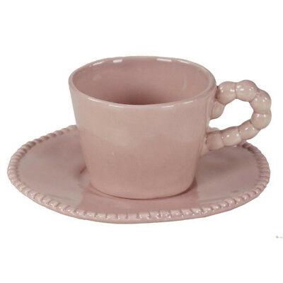 Set de 6 Tasses à Café Rose en Porcelaine de Lorenzon avec soucoupe
