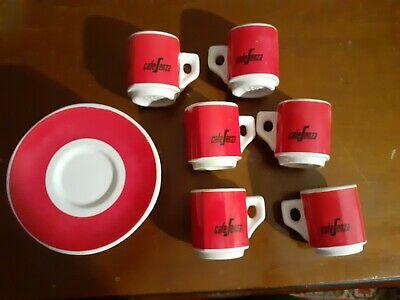 Set 6 Tasses à Café Avec Soucoupes Café Sans Segafredo Vintage Rouge