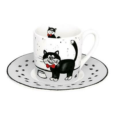 Könitz Carlo Cat, Tasse à Café avec Soucoupe, Porcelaine, 85 ml, 1150530505