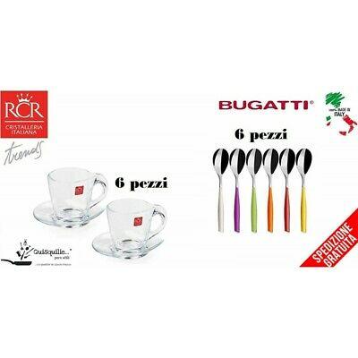 RCR Set Happy Espresso 6 tasses avec soucoupe + Bugatti Glamour Set cuillères de