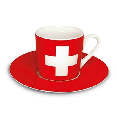 Könitz drapeau suisse, tasse à café avec soucoupe, porcelaine 85 ml 1150530126