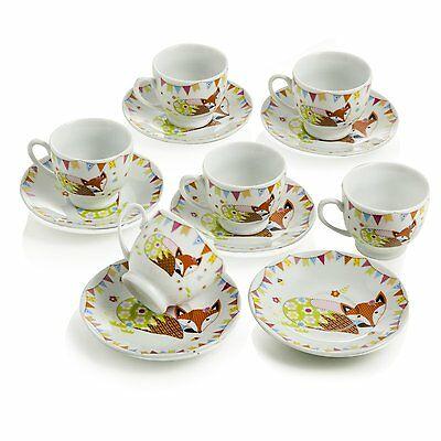 Set 6 tasses à café avec soucoupe Fox Porcelain Design Montemaggi