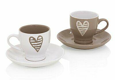 Brandani Set 2 tasses à café avec soucoupe Collection Batticuore