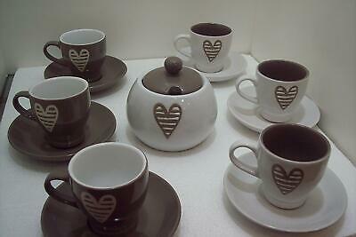 Brandani Set6 (six) tasses à café avec soucoupe et sucre Collection Batticuore