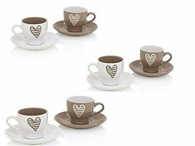 Brandani Set 6 (six) tasses à café avec soucoupe Collection Batticuore