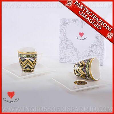 Service à café 2 tasses en porcelaine décorées avec soucoupe faveurs utiles