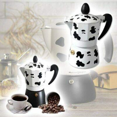 Cafetière Moka Coffee Machine à café expresso effet vache 3 tasses en aluminium
