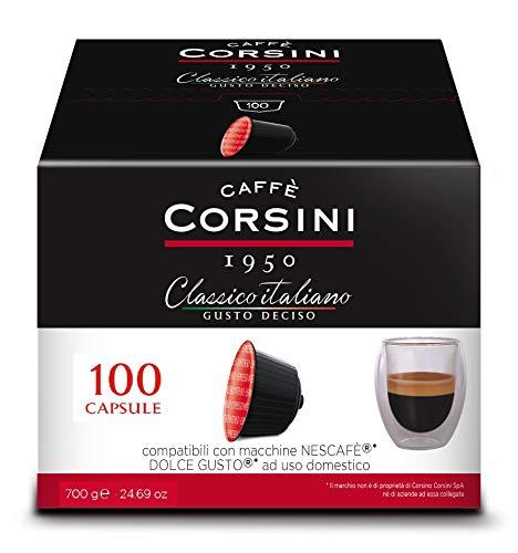 Caffè Corsini - Mélange de café italien classique en capsules compatibles Nescafè * DolceGusto *, goût fort - Paquet de 100 capsules