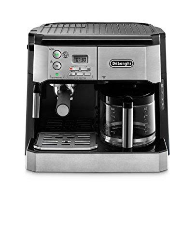 DeLonghi BCO430 Machine à café espresso à pompe combinée et machine à café goutte à goutte de 10 tasses avec baguette à mousser, argent et noir