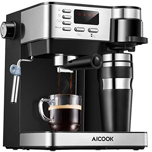 Machine à expresso et à café AICOOK, combinaison 3 en 1 machine à expresso à 15 bars et cafetière à portion individuelle avec tasse à café, mousseur à lait pour cappuccino et latte, noir