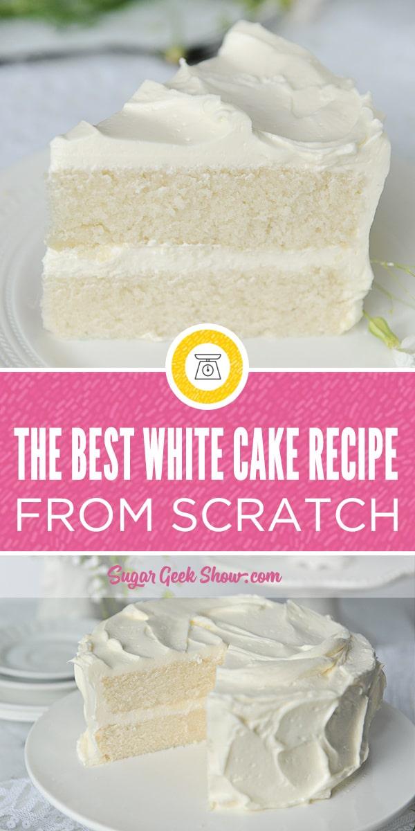 """Sérieusement, la meilleure recette de gâteau blanc jamais préparée à partir de rien et à partir d'ingrédients simples que vous avez probablement déjà dans votre cuisine. Ce gâteau est si simple, je l'ai fait avec ma fille de quatre ans, Avalon (non mes mains ne sont pas super minuscules, ce sont mes enfants). Cette recette de gâteau blanc classique contient un peu d'huile pour la garder super moelleuse et une délicieuse miette délicate qui fond dans la bouche. Vous n'aurez jamais besoin d'une autre recette de gâteau blanc! """"Width ="""" 600 """"height ="""" 1200 """"srcset ="""" https://sugargeekshow.com/wp-content/uploads/2018/03/white-cake-recipe-pin. jpg 600w, https://sugargeekshow.com/wp-content/uploads/2018/03/white-cake-recipe-pin-320x640.jpg 320w, https://sugargeekshow.com/wp-content/uploads/2018/ 03 / white-cake-recette-pin-400x800.jpg 400w """"tailles ="""" (largeur maximale: 600px) 100vw, 600px"""