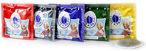 150 Caffè Borbone (FORFAIT DÉGUSTATION MÉLANGE ROUGE-BLEU-NOIR-OR-DEK) Cartes Goût et Café Modiano gratuites pour chaque emballage individuel.