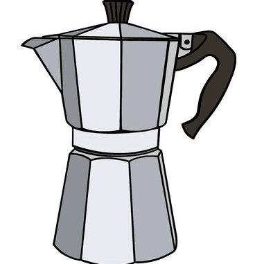 Italian coffee maker or moka pot, metal espresso machine, mocha express. Hand drawn vector illustration isolated over white. Archivio Fotografico - 147806540