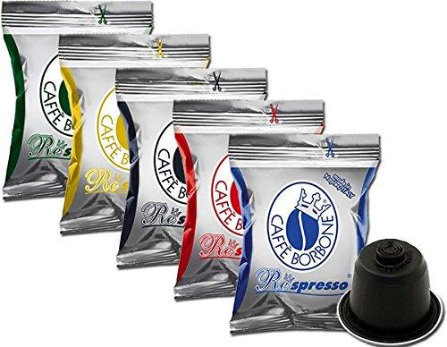 5x50 capsules Borbone Respresso DEGUSTATION 50 NOIR, 50 BLEU, 50 ROUGE, 50 OR, 50 DEK compatible Nespresso