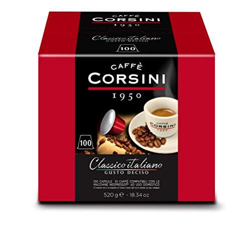 Caffè Corsini Dcc190 - Mélange de café italien classique dans des capsules Nespresso compatibles, goût fort et décisif - Paquet de 100 capsules