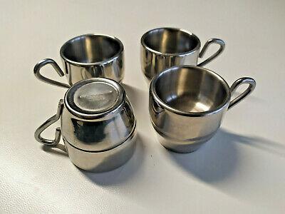 4 tasses à café en acier inoxydable