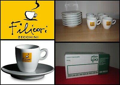 CAFÉ 'FILICORI ZECCHINI BAR SERVICE 6 Tasses Espresso Tasses à Café Porcelaine