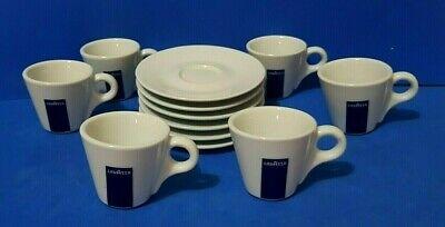 646-Set De 6 Tasses + 6 Soucoupes À Café En Porcelaine Bleue Lavazza