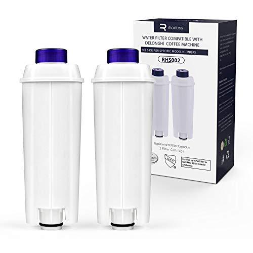 Adoucisseur d'eau Rhodesy pour Delonghi DLSC002, adoucisseur de filtre à eau à cartouche à charbon actif adapté à Delonghi ECAM, ESAM, ETAM, BCO, (lot de 2)