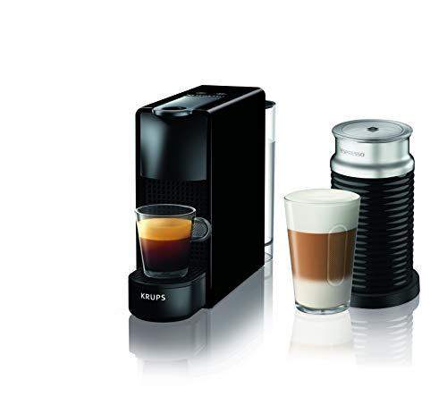Krups Nespresso Essenza Mini Capsules de café avec Aeroccino, bloc thermique du système de chauffage, 0,7 L, 1260 W, 19 bars, noir