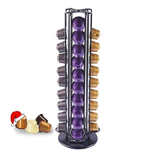 MeelioCafe Porte-capsule tournant pour 40 capsules Nespresso, couleur noire