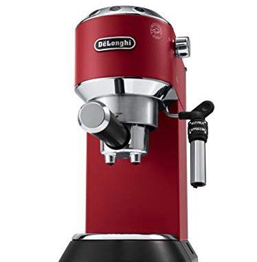 De'Longhi Dedica EC685.R Machine à expresso et cappuccino manuelle, café en poudre ou capsules E.S.E., 1350 W, rouge